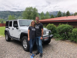 At the B&B in our surprise jeep rental car!